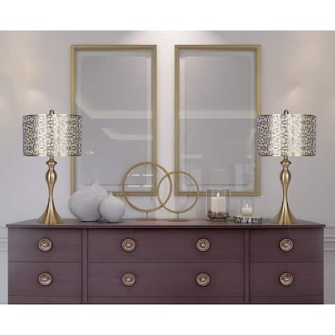"27"" Metal Table Lamp w/ Sleek Curvy Body & Metal Cut-Out Shades (Set of 2)"