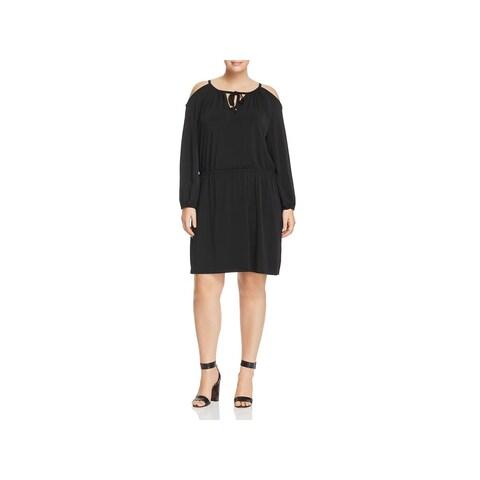 MICHAEL Michael Kors Womens Plus Cocktail Dress Cold Shoulder Blouson
