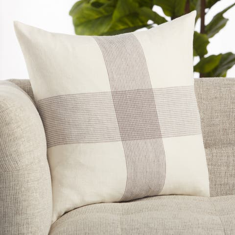Pembroke White/ Gray Striped Throw Pillow 20 inch