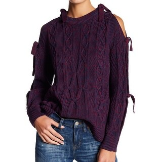 Project Naadam Purple Women's Small S Cable Knit Tie-Sleeve Sweater