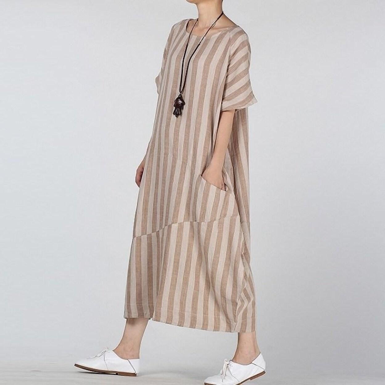 Women/'s Cotton Linen Dress Loose Robe Kaftan Round Neck Maxi Striped Dresses