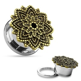 Manish Lotus Flower 316L Surgical Steel Screw Fit Tunnel (Sold Individually)