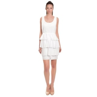 Ali Ro Crisp Cotton Eyelet Tiered Pleated Evening Day Dress