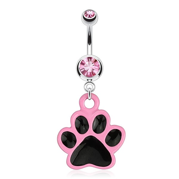 Paw with Black Enamel Plating and Pink Outline Dangle 316L Surgical Steel Navel Belly Button Ring