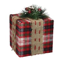 """8"""" Red Plaid Square Gift Box with Pine Burlap Bow Table Top Christmas Accent"""