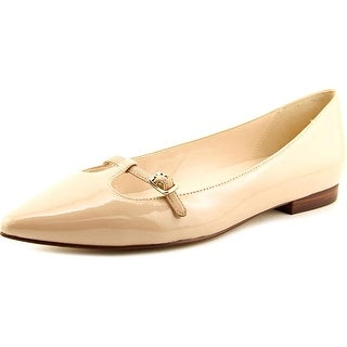 Cole Haan Indra Skimmer. II Women Pointed Toe Patent Leather Nude Flats