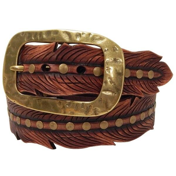 Roper Western Belt Womens Hand Tooled Leaf Shape Brown