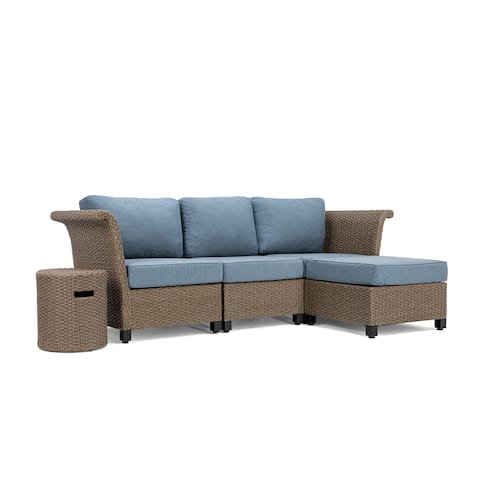 La-Z-Boy Nolin 3pc Weathered Brown Sectional Set with 1 Side Table and 1 Ottoman, Sunbrella Spectrum Denim Fabric