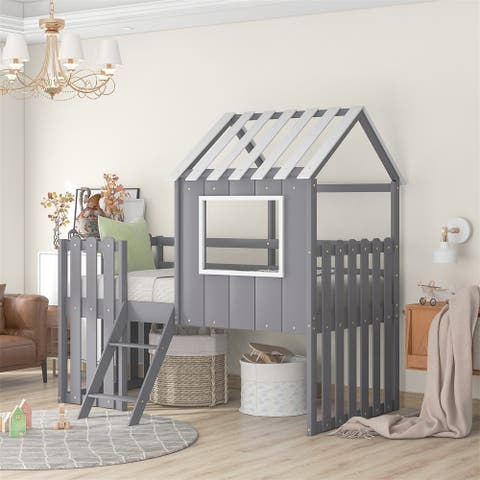 Merax Twin House Bed Loft Bed with Rustic Fence-Shaped Guardrail