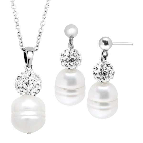 Ringed Freshwater Pearl Pendant & Earrings Set with Crystals in Sterling Silver