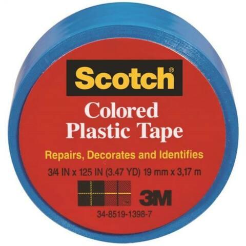"""Scotch 190BL Colored Plastic Tape, 3/4"""" x 125"""", Blue"""
