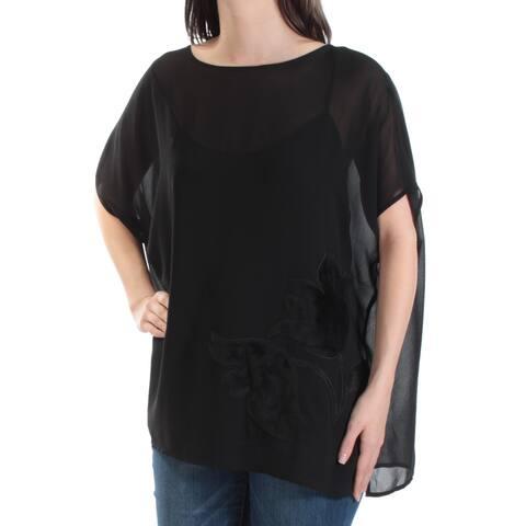 CATHERINE MALANDRINO Womens Black Floral Short Sleeve Top Size S