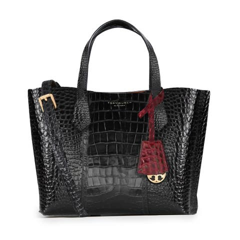 Tory Burch Womens Embossed Black Triple Compartment Tote Small