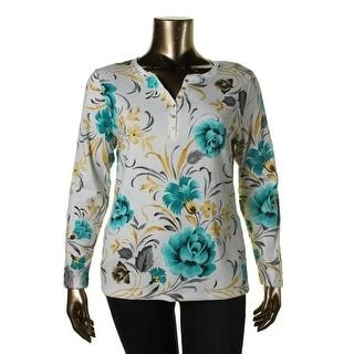 Karen Scott Womens Printed Long Sleeves Casual Top - XL