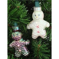 Gingerbread Man Novelty Green Wire Christmas Light, Set of 10