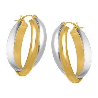 Crossover Hoop Earrings in 14K Gold-Bonded Sterling Silver - Two-tone