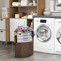 Costway Corner Bamboo Hamper Laundry Basket Washing Cloth Bin Storage Bag Lid Brown