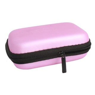 Earphone Mobile Charging Cable Rectangle Carrying Case Pouch Bag Box Pocket Pink