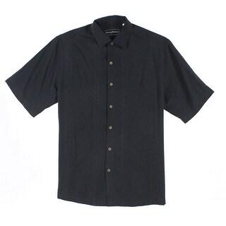 Tommy Bahama NEW Black Mens Size LT Silk Floral Jacquard Polo Shirt
