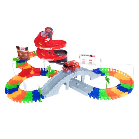 "Toy Time 105 Piece Flexible Tracks Raceway Set - Multicolor - 45"" x 17"" x 11"""