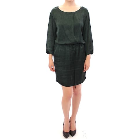 Armani Green Zig Zag Logo 3/4 Sleeve Women's Dress - it40