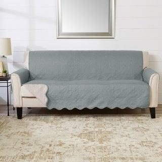 Great Bay Home Elenor Solid Reversible Sofa Furniture Protector