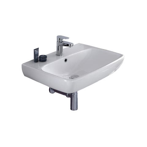"Bissonnet E14341 Energy 24"" Rectangular Vitreous China Wall Mounted Bathroom Sink with Overflow and One Faucet Hole - White"