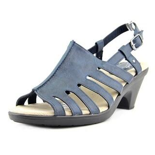 Easy Street Kacia Women Open-Toe Leather Blue Slingback Sandal