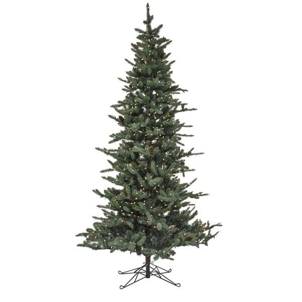"9' x 58"" Pre-Lit Medium Pine Artificial Christmas Tree – Warm White Lights - CLEAR"