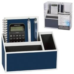 Navy Blue With White Trim - Magnetic Desk Organizer Set 5pcs