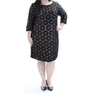JESSICA HOWARD $99 Womens New 1466 Black 3/4 Sleeve Shift Dress 20W Plus B+B
