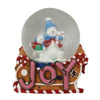 "5.25"" Musical ""Joy"" Snowmen and Gingerbread Sleigh Christmas Snow Globe - PInk"