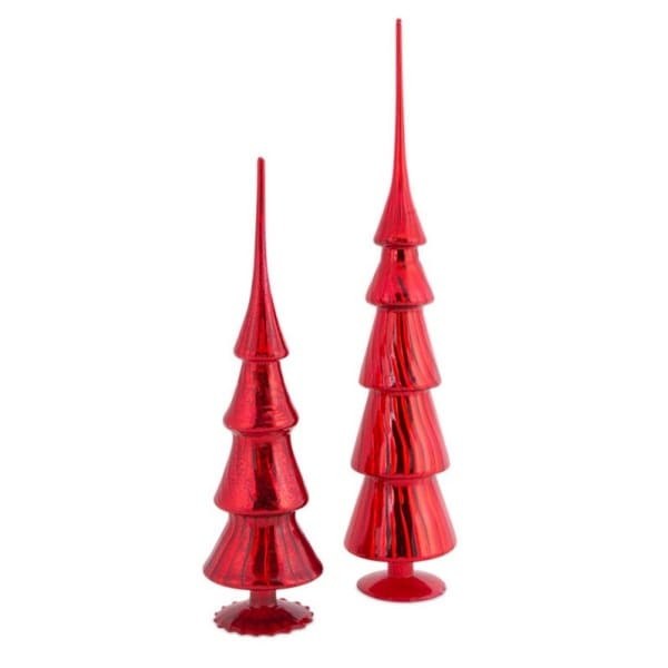 Pack of 4 Vibrant Shiny Red Glass Finial Christmas Tree Toppers 20.5""