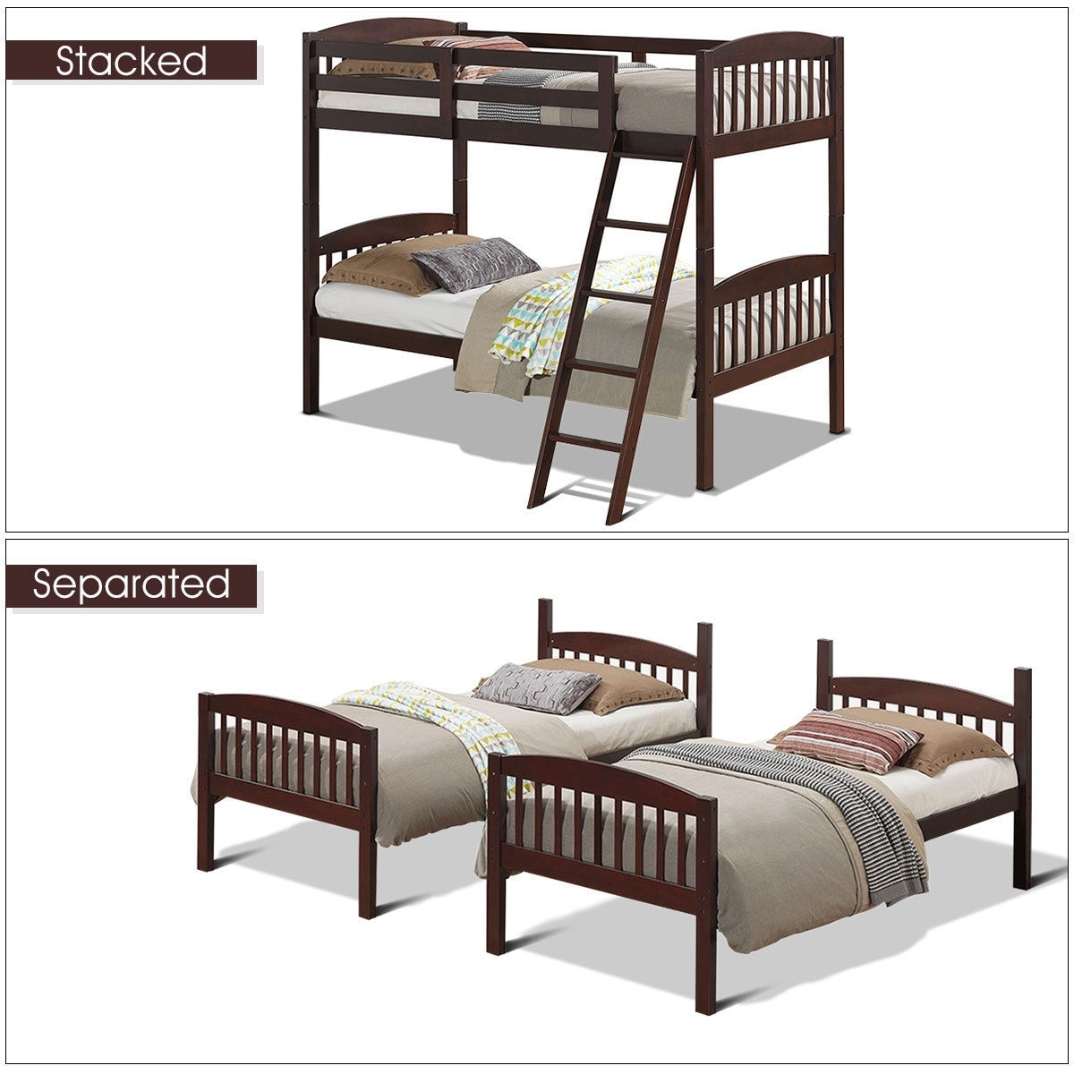 Twin Bunk Beds Detachable Kids