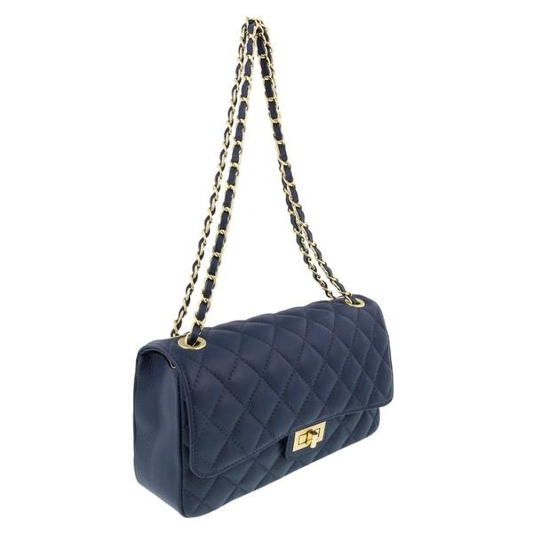 HS Collection HS6078 BLU DITA Blue/Gold Shoulder Bag - 11-8-3