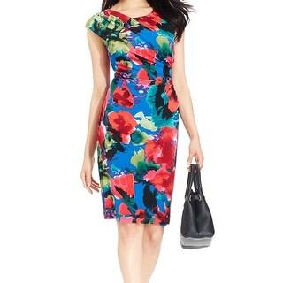 Connected Apparel NEW Blue Women's Size 10 Floral Print Faux Wrap Dress