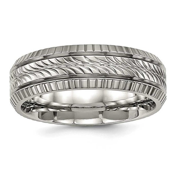 Titanium Polished Grooved and Textured Ring (7 mm)