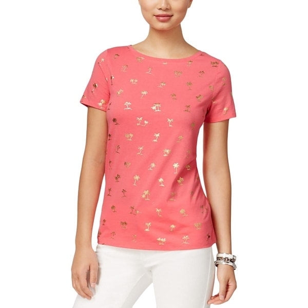 8f84705e Shop Tommy Hilfiger Womens T-Shirt Metallic Palm Tree Print - Free Shipping  On Orders Over $45 - Overstock - 17157424