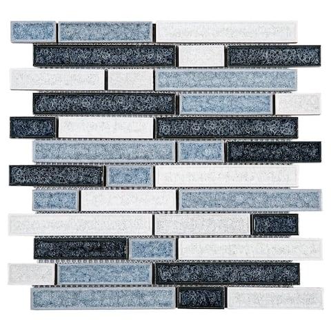 TileGen. Roman Art Mario Random Sized Ceramic Glass Splitface Tile in Blue Wall Tile (10 sheets/8.6sqft.)