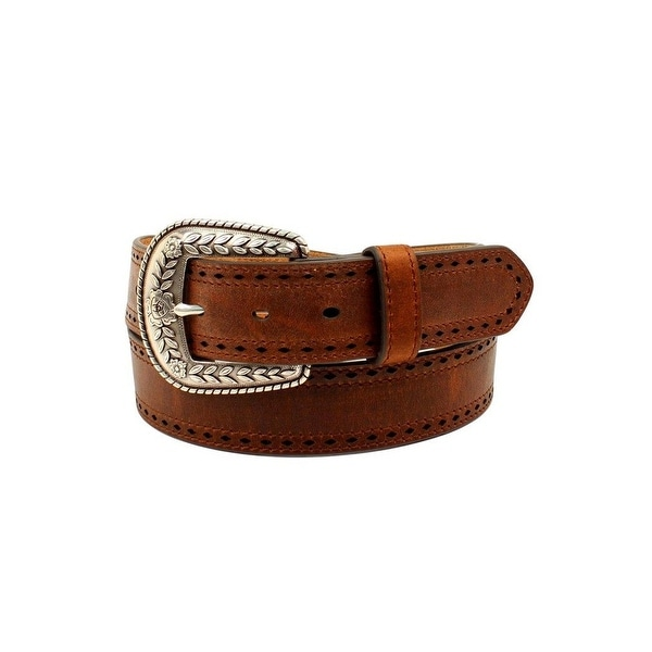 Ariat Western Belt Womens Pierced Edges Logo Etched Buckle