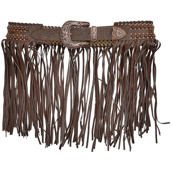 Angel Ranch Western Belt Womens Floral Fringe Lacing Brown