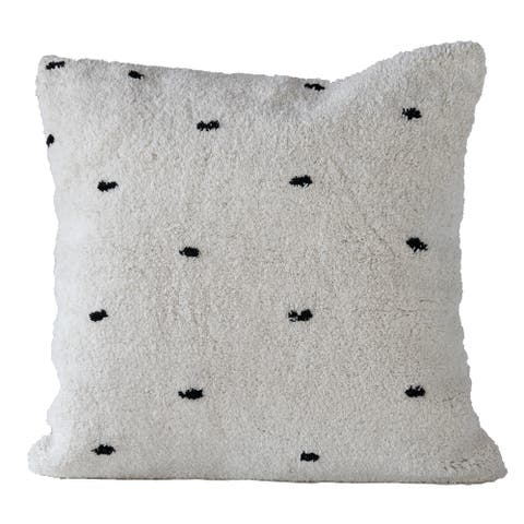 Square Tufted Dot White & Black Cotton Pillow