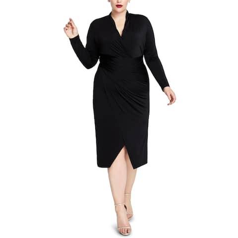 Rachel Rachel Roy Womens Plus Formal Dress Ruched Faux-Wrap