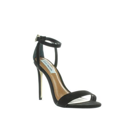 f9f56a2657f2 Steve Madden Womens Lacey Black Nubuck Ankle Strap Heels Size 6