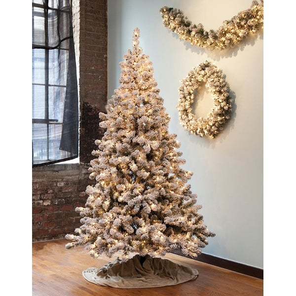 7.5' Pre-Lit Snowy Pine Flocked Medium Artificial Christmas Tree - Clear Lights - WHITE