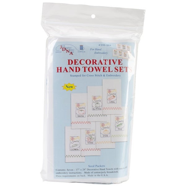 """Stamped White Decorative Hand Towels 17""""X28"""" Set Of 7-Seed Packets"""