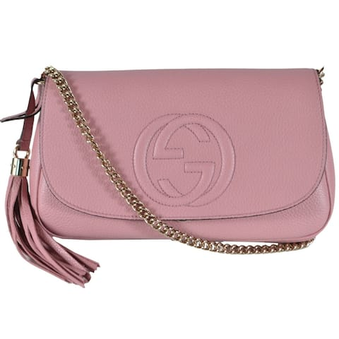 Gucci 536224 Pink Leather SOHO Tassel Crossbody Purse Handbag