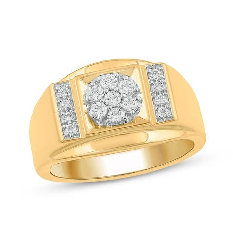 Cali Trove 10KT Yellow Gold with 1/2 ct TDW Mens Fashion Ring.