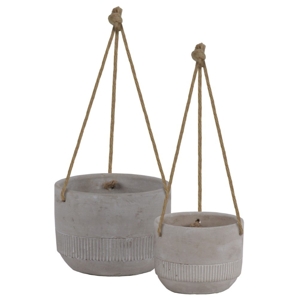Round Cemented Pots with Rope Hanger, Washed Gray, Set of 2