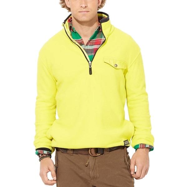 POLO RALPH LAUREN Fleece Sweatshirt Medium M Bright Yellow & Black Half Zip